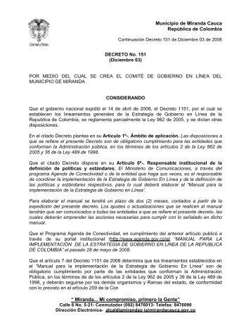 Descargar Decreto 151 de Diciembre 03 de ... - Miranda - Cauca