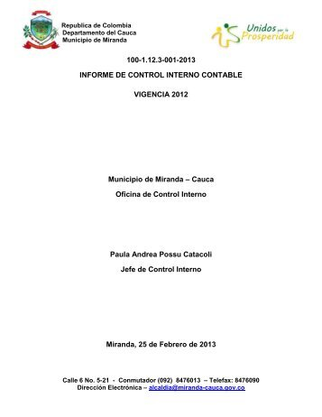 INFORME DE CONTROL INTERNO CONTABLE - Miranda - Cauca