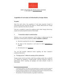 Acquisition of real estate in Switzerland by foreign ... - Quality Living