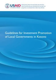 Guidelines for Investment Promotion of Local Governments in Kosovo