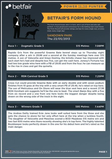 BETFAIR'S FORM HOUND