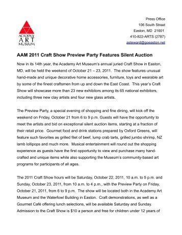 AAM 2011 Craft Show Preview Party Features Silent Auction