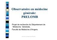 Observatoire en médecine générale: PRELOMB - Faculté de ...