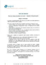 DEVE - Note de service Stage à l'étranger - Accident Travail Maladie