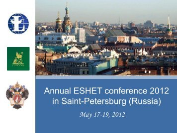 Annual ESHET conference 2012 in Saint-Petersburg (Russia)