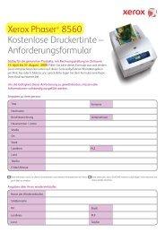 Xerox Phaser® 8560 Kostenlose Druckertinte – Anforderungsformular