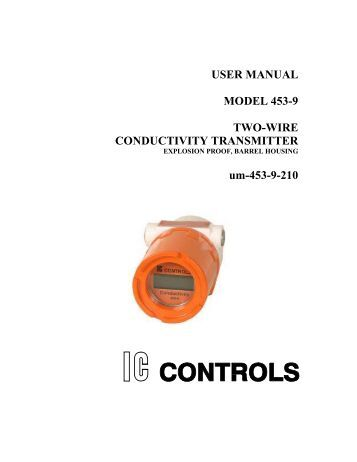 USER MANUAL MODEL 453-9 TWO-WIRE CONDUCTIVITY TRANSMITTER um-453-9-210