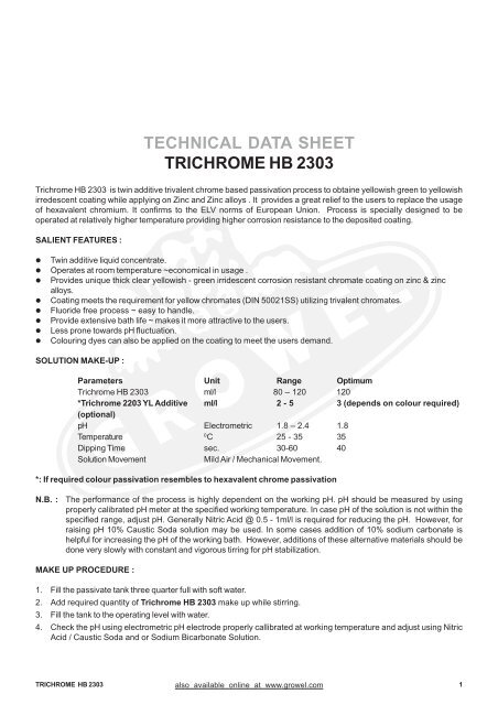 TECHNICAL DATA SHEET TRICHROME HB 2303