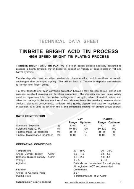 TINBRITE BRIGHT ACID TIN PROCESS