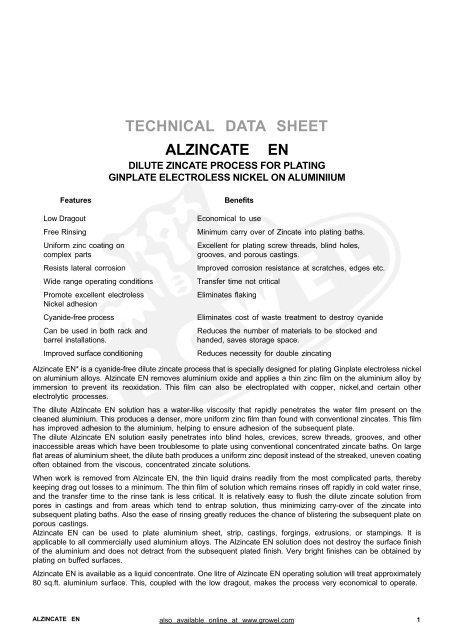 ALZINCATE EN TECHNICAL DATA SHEET - Growel