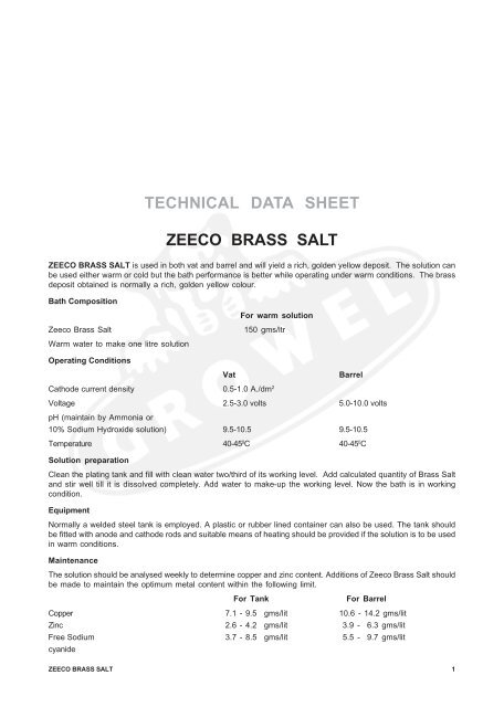 TECHNICAL DATA SHEET ZEECO BRASS SALT