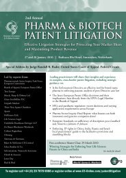 2nd Annual PHARMA & BIOTECH PATENT LITIGATION Effective ...