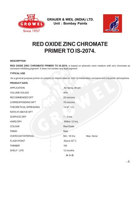 RED OXIDE ZINC CHROMATE PRIMER TO IS-2074  - Growel