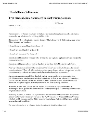 HeraldTimesOnline.com Free medical clinic volunteers to start training sessions