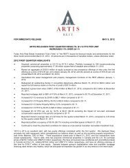 for immediate release may 9, 2012 artis releases first ... - Artis REIT