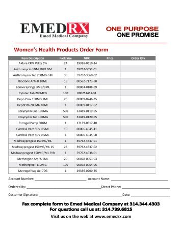 Orthopedic Products Order Form  Emed Medical Company