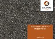HONG KONG INVESTOR PRESENTATION