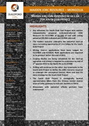 MAIDEN JORC RESOURCE – MONGOLIA HIGHLIGHTS