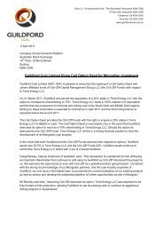 Guildford Coal Limited Signs Call Option Deed for Mongolian Investment