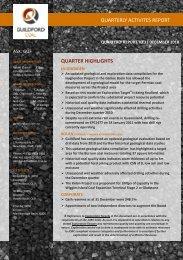 Oct to Dec 2010 Quarterly Report - Guildford Coal