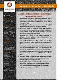 MAIDEN JORC RESOURCE - SPRINGSURE - Guildford Coal