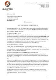 Clarifying Statement - Guildford Coal