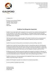 Guildford Coal Mongolian Acquisition