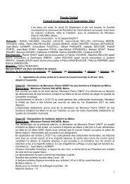 Procès Verbal Conseil municipal du 22 Septembre 2011