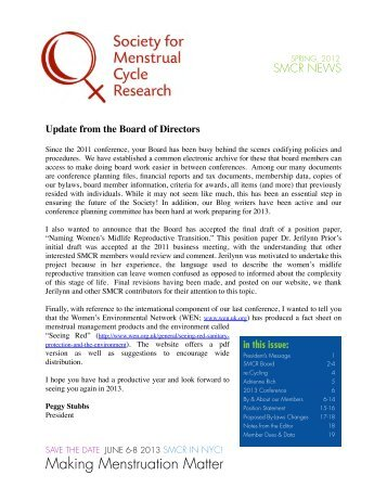 Spring 2012 Newsletter - Society for Menstrual Cycle Research