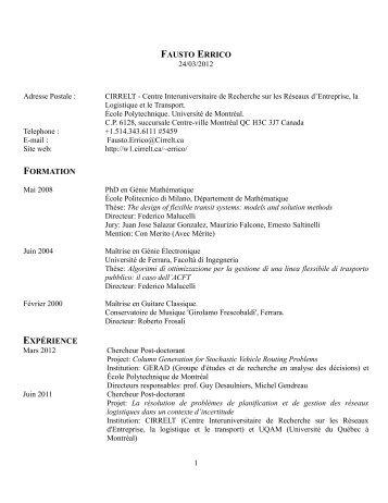 FAUSTO ERRICO FORMATION EXPÉRIENCE - cirrelt
