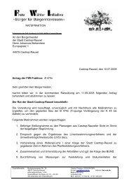Antrag der FWI zur B 474n an den Rat der Stadt Castrop-Rauxel