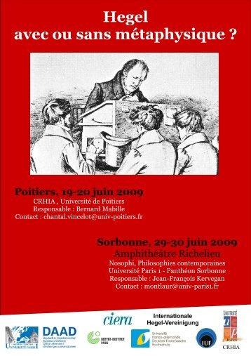Affiches Hegel - Nosophi - Université Paris 1 Panthéon-Sorbonne