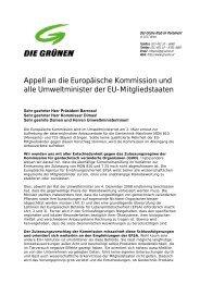 Appell an die Europäische Kommission und alle Umweltminister der ...