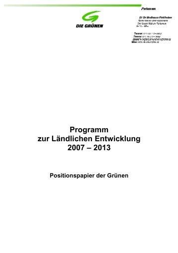 Programm zur Ländlichen Entwicklung 2007 – 2013