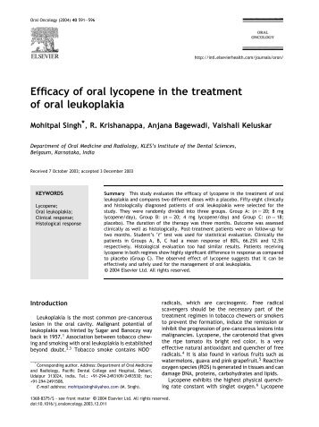 Efficacy of oral lycopene in the treatment of oral ... - ResearchGate