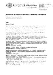 Publikationen des Instituts für Experimentelle Pharmakologie und ...