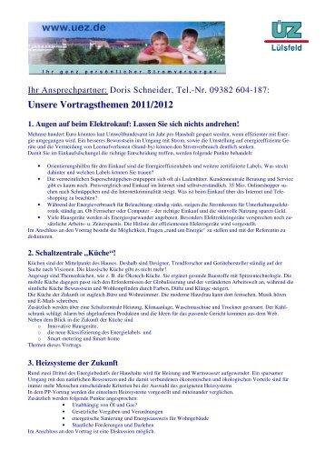 Unsere Vortragsthemen 2011/2012