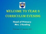 WELCOme to YEAR 6 Curriculum Evening
