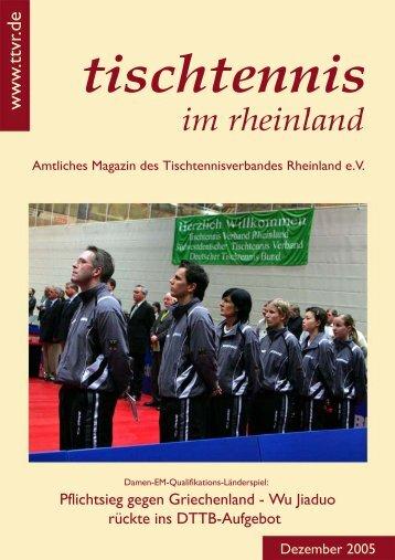 AUSSCHREIBUNGWEIHNACH TSTURNIER 2005 des TTC - TTVR