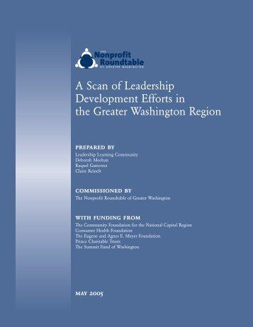 A Scan of Leadership Development Efforts in the Greater Washington Region