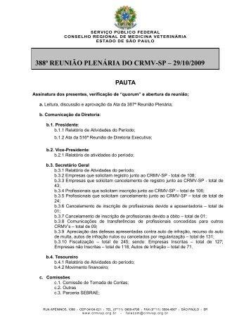 Pauta Da 388ª Reunião Plenária Do CRMV-SP – 29/10/2009
