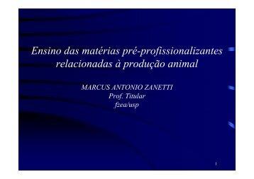 Ensino das matérias pré-profissionalizantes relacionadas à produção animal