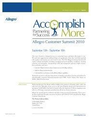 Download the 2010 Allegro Customer Summit Agenda