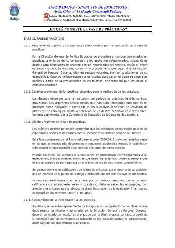 Badajoz ¿EN QUÉ CONSISTE LA FASE DE ... - ANPE BADAJOZ