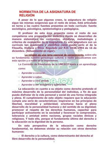 NORMATIVA DE LA ASIGNATURA DE RELIGIÓN