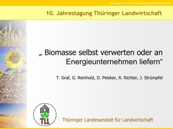 Biomasse selbst verwerten oder an Energieunternehmen liefern - TLL