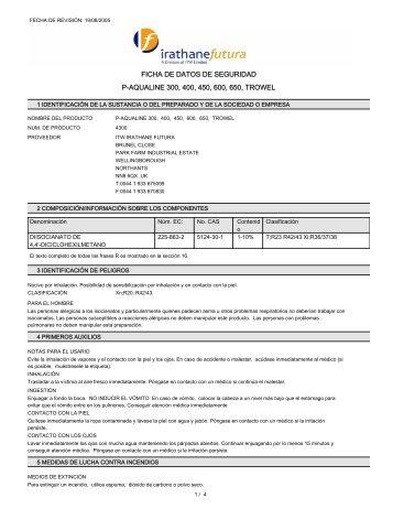 FICHA DE DATOS DE SEGURIDAD P-AQUALINE 300 400 450 600 650 TROWEL