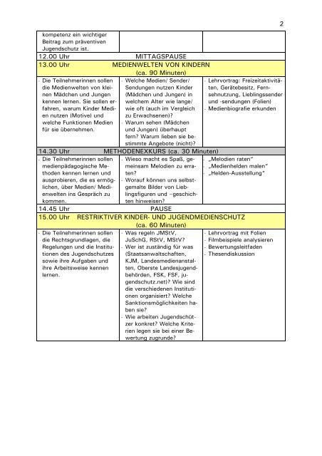 Lernziele, Inhalte, Methoden