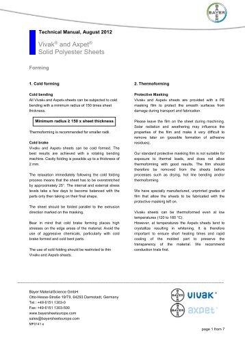 Minimum Gmbh bayer polymers sheet europe gmbh vink