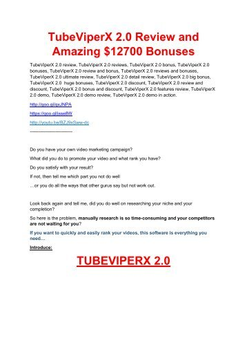 TubeViperX 2.0 review and (MEGA) bonuses – TubeViperX 2.0